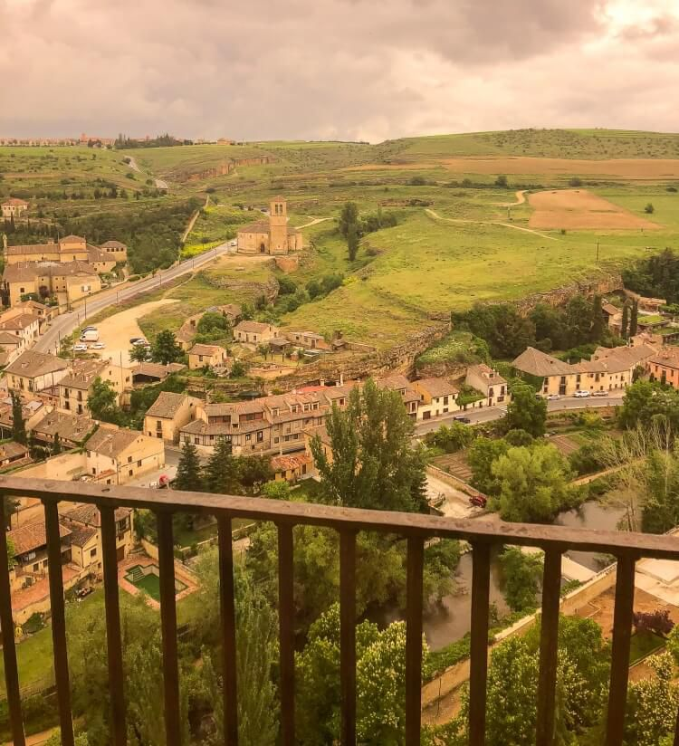 birdseye view of countryside from atop the alcazar