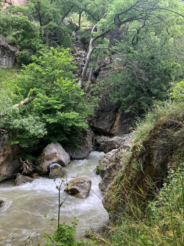 Monachil river in Sierra Nevada flowing heavily