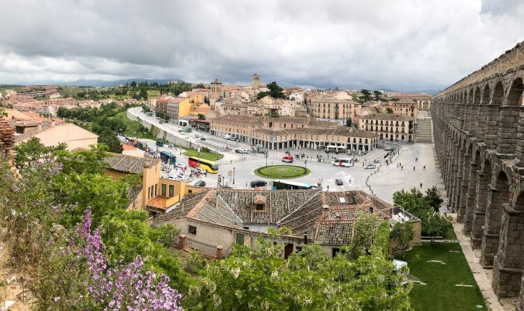 View of Segovia and aqueduct from the main stairs