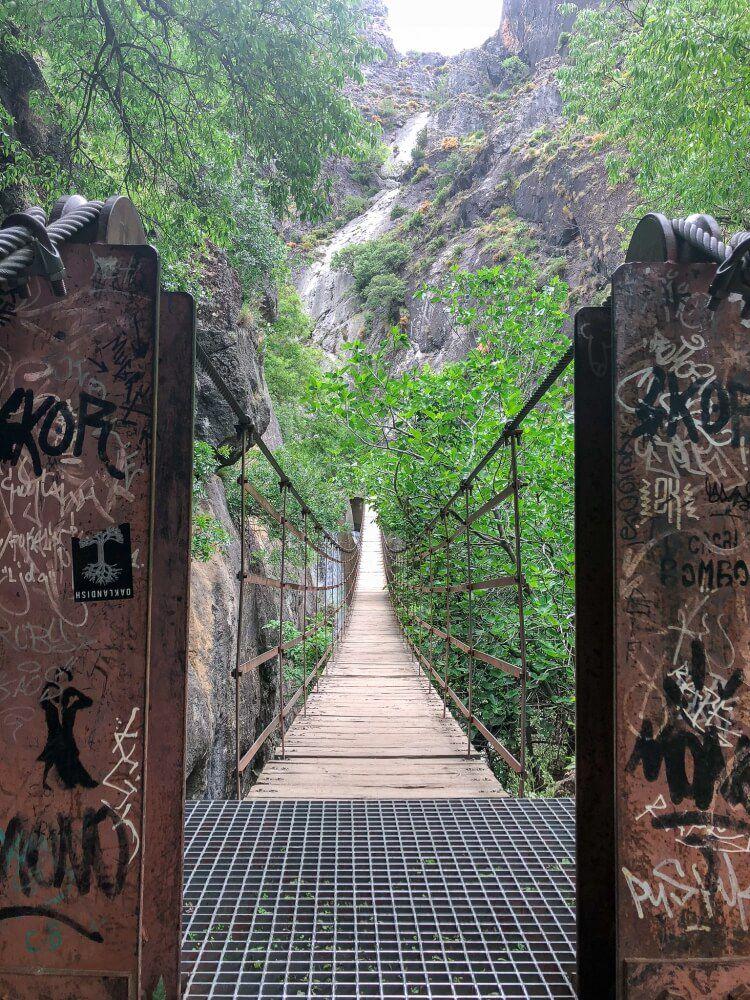 longest hanging bridge on los cahorros trail