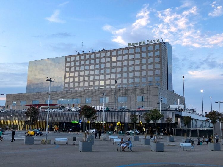 view of the Barcelona Sants train station on a weekend in Barcelona