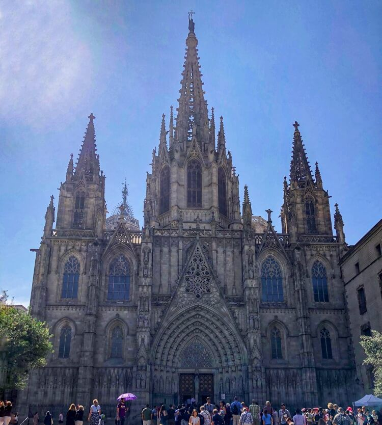 Cathedral of Barcelona in the Gothic quarter on a weekend in Barcelona