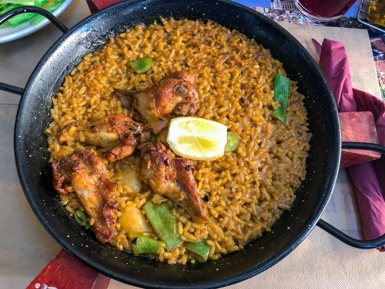 Chicken paella served on a day trip to Toledo