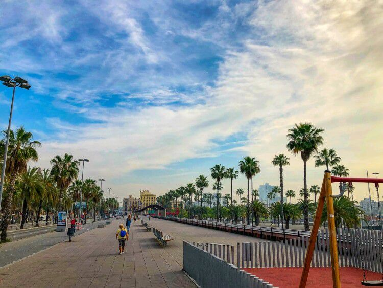 The main promenade during a weekend in Barcelona