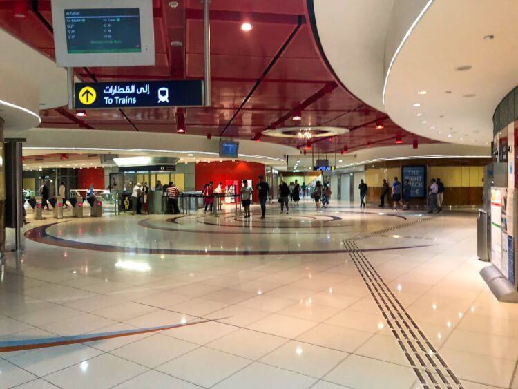 People walking through the subway in Dubai
