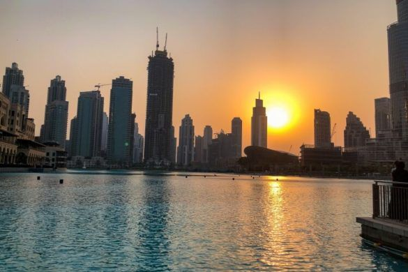 A beautiful sunet in Dubai next to the Burj Khalifa