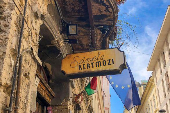 Szimpla Kert sign at entrance Ruin Bar