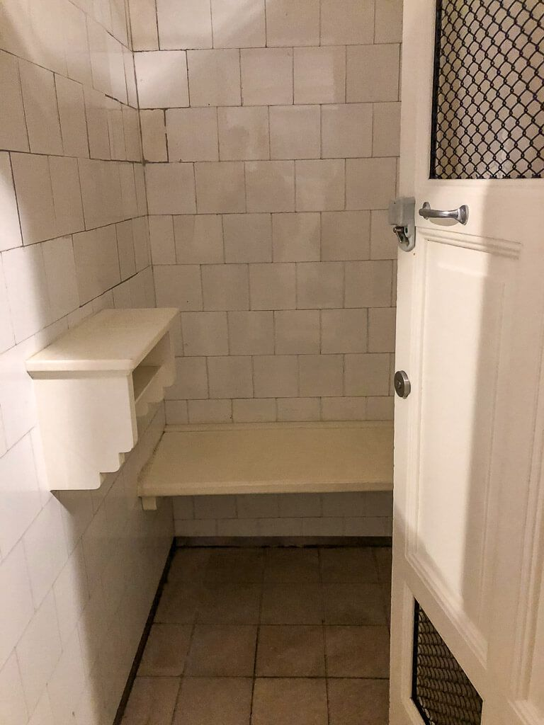 szechenyi baths inside changing cubicle