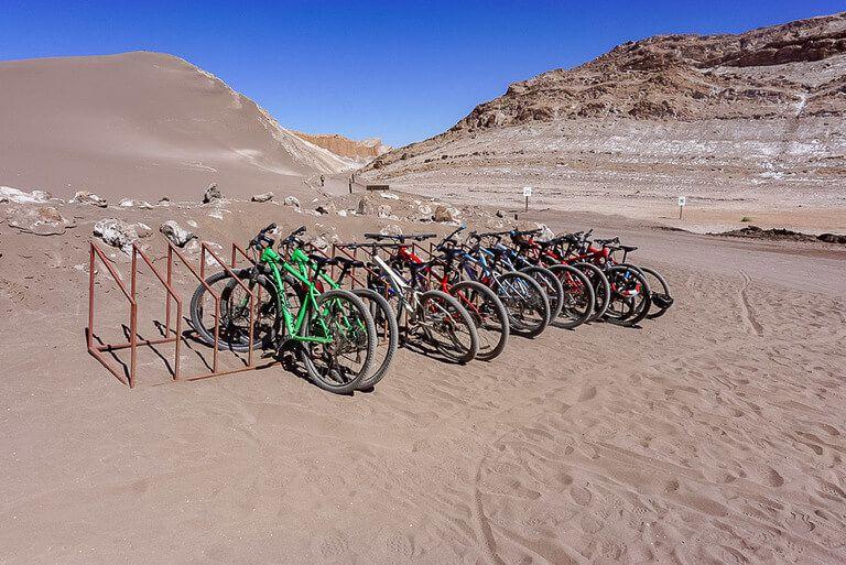 rack full of mountain bikes in valle de la luna