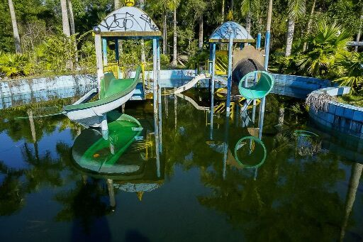 abandoned water park childrens slides left in disrepair
