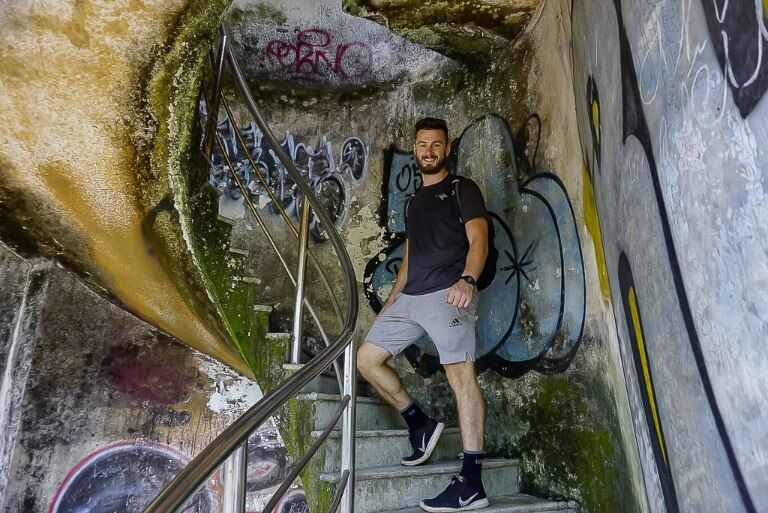 Mark on spiral staircase in abandoned water park hue Vietnam