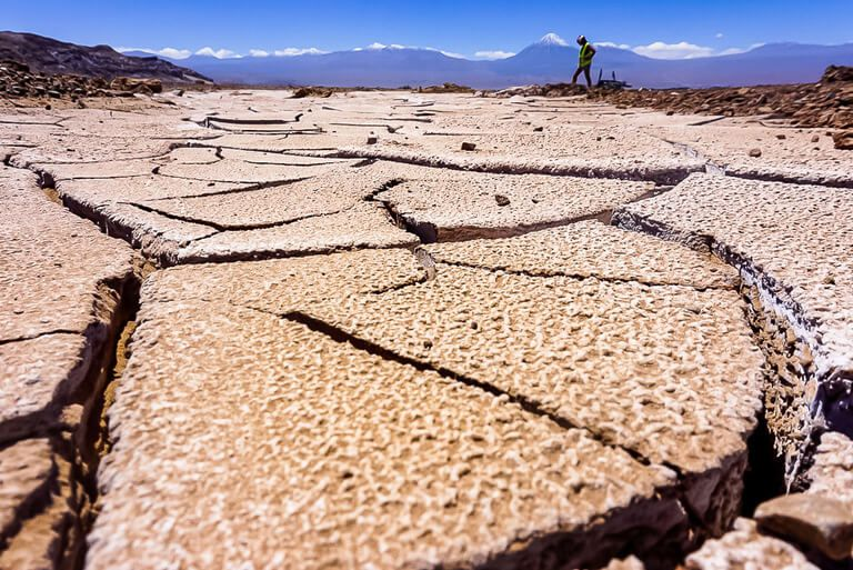 things to do in San Pedro de atacama include exploring the deep mud cracks in the salt