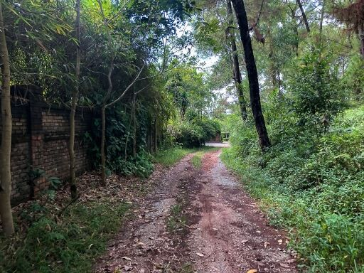 dirt road leading to another road with access to entrance abandoned water park hue