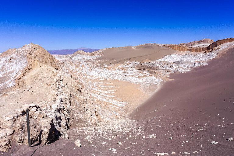 one of best things to do in San Pedro de Atacama is stand on top of san dunes at valle de la luna