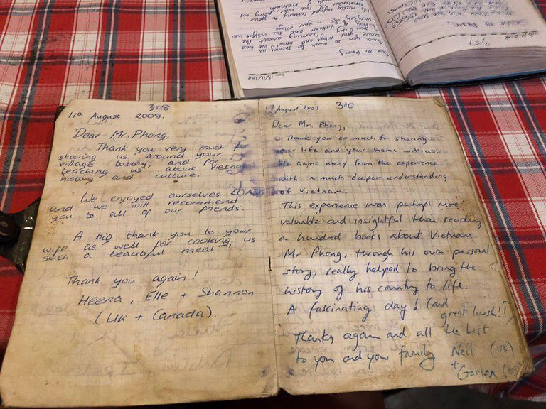 Very old book diary entries from tourists