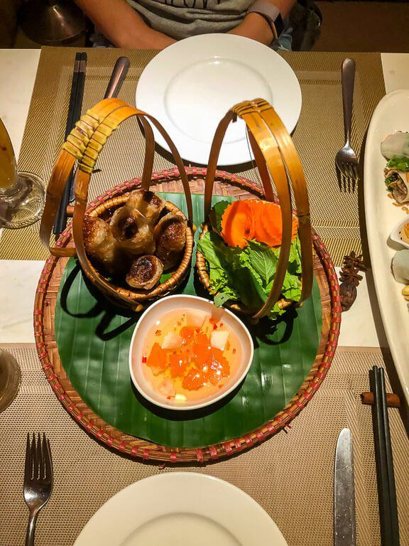 Beautifully presented food at Duong restaurant in Hanoi old quarter