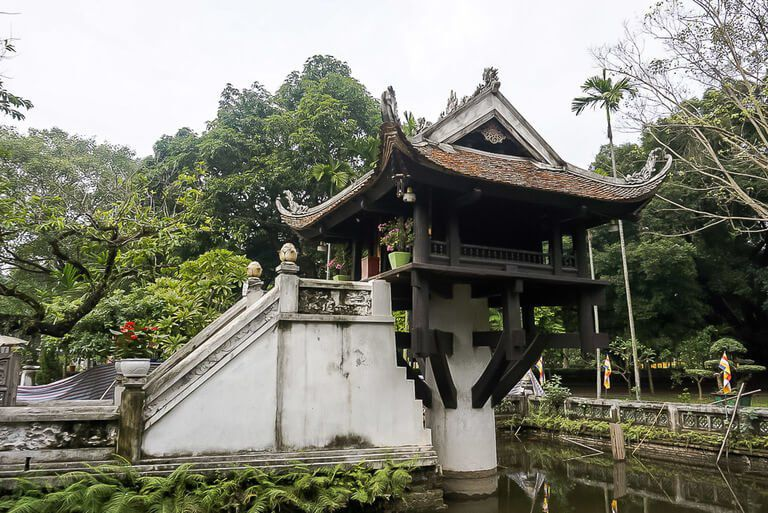 Hanoi One Pillar Pagoda single column in a lotus pond with temple on top