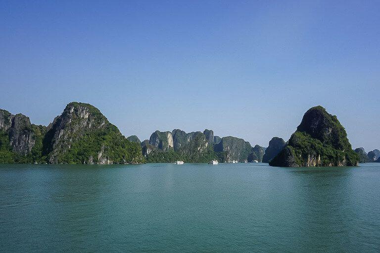Halong Bay limestone rocks and turquoise sea