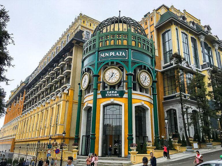 Sun Plaza yellow building sapa itinerary begin Fansipan cable car