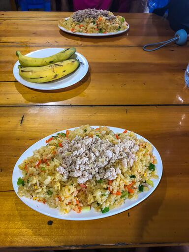 Rice and meat lunch on sapa trekking tour Vietnam