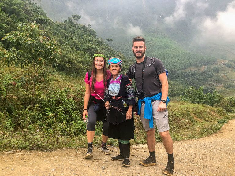 Mark Kristen and Mama Sung our Hmong guide trekking sapa