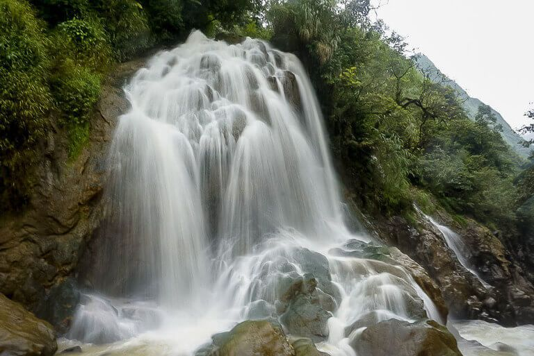 Waterfall at cat cat village sapa itinerary