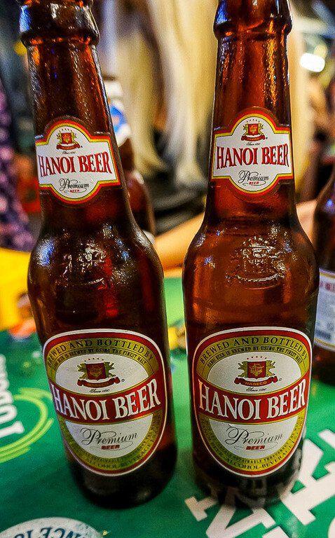 Beer bottles on beer street in hanoi cheap to drink