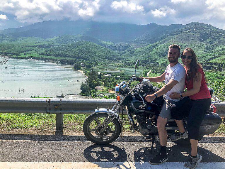 Mark and kristen on motorbike on hai van pass route