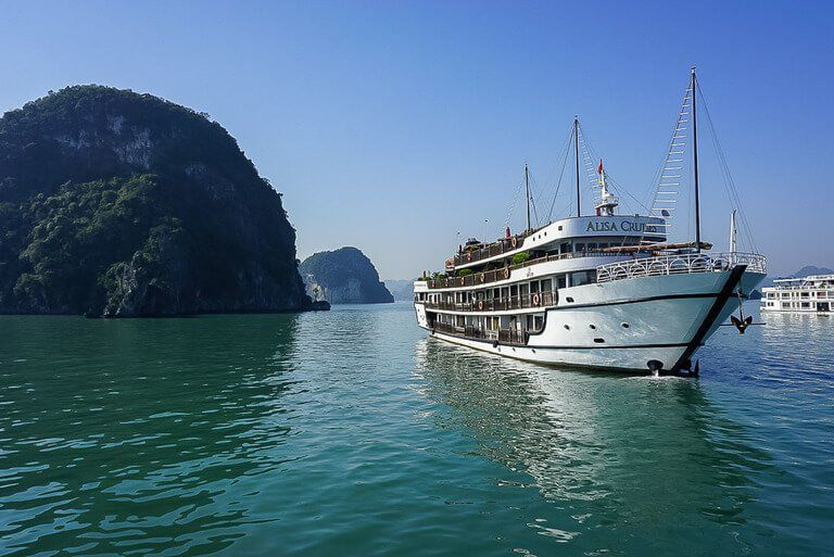 Cruise ship in Halong Bay third stop of 3 week Vietnam Itinerary