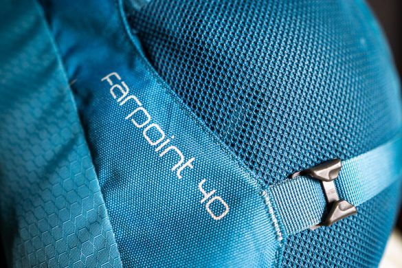 The Awesome Osprey Farpoint 40 Backpack close up of lettering
