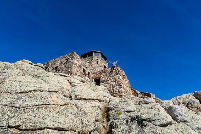 Harney Watchtower at the summit of Black Elk Peak hike trail South Dakota