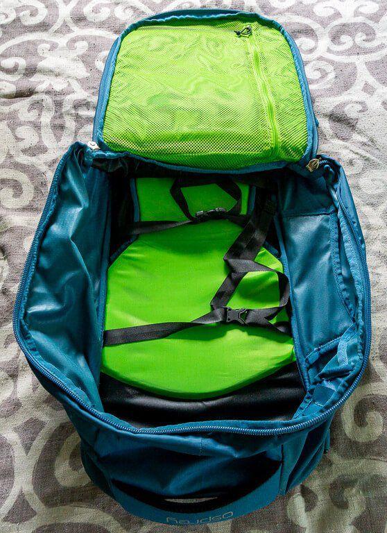 Huge open space inside empty blue bag