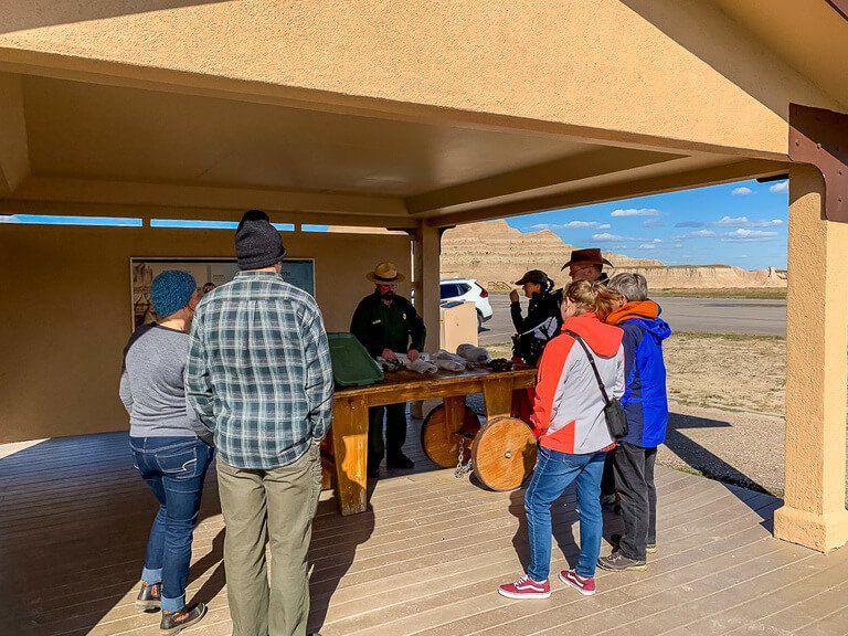 Ranger led educational program at fossil exhibit badlands