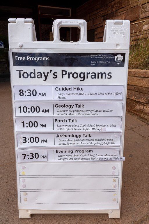 ranger led programs available at capitol reef on a notice board
