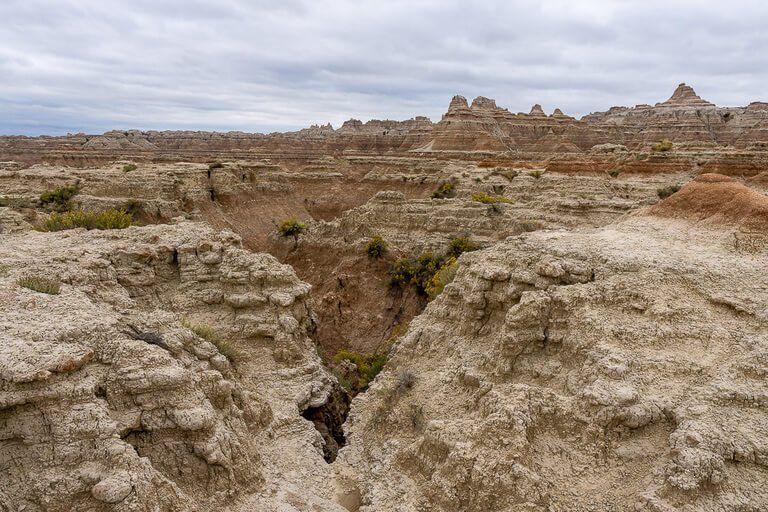 Sharp ravine gullies on door trail badlands