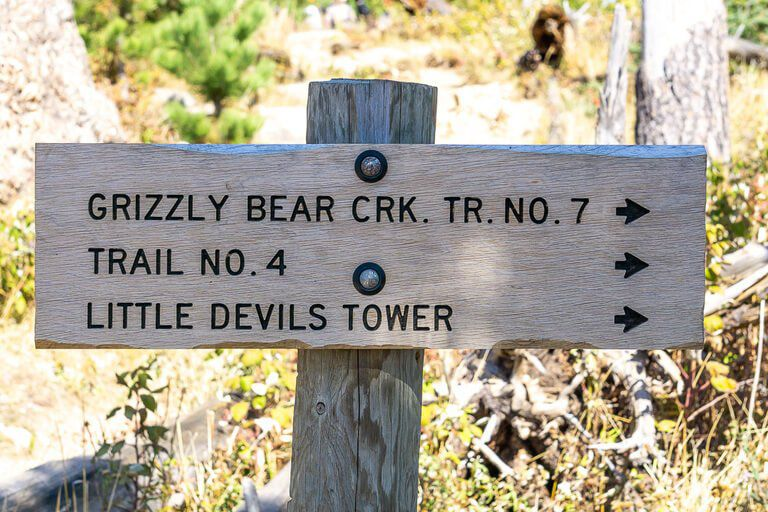 Trail sign on Black Elk Peak hike follow trail no 4 on descent