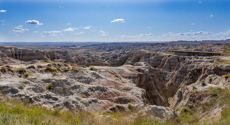 Awesome rocks formations at Badlands National Park stop on South Dakota road trip