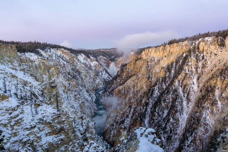 Grand Canyon of the Yellowstone River lower falls purple sky