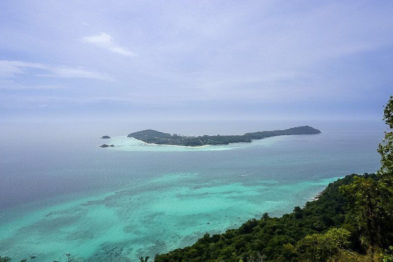 Koh Lipe island from the summit of Koh Adang viewpoint thin clouds in sky turning slightly purple