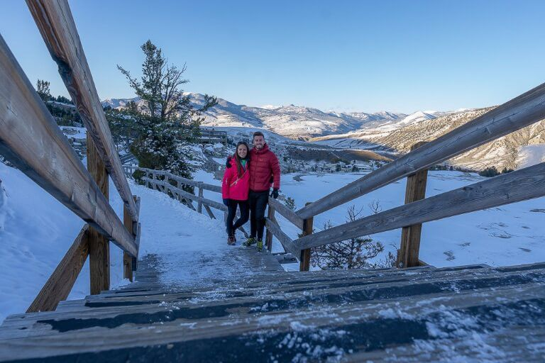 Mark and Kristen Mammoth Hot Springs in snow