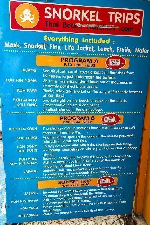 Snorkelling trips sign board for program 1 and program 2 on Koh Lipe itinerary