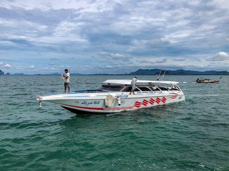 White speedboat at Pak Bara Pier Thailand