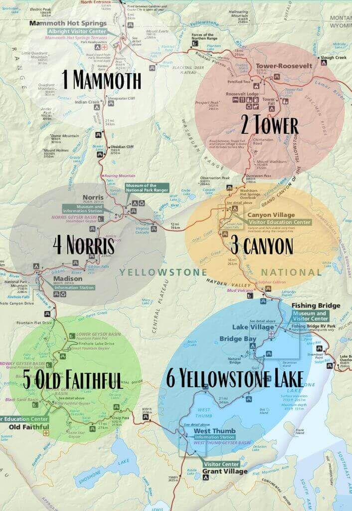 Yellowstone 6 regions broken down to better navigate the park