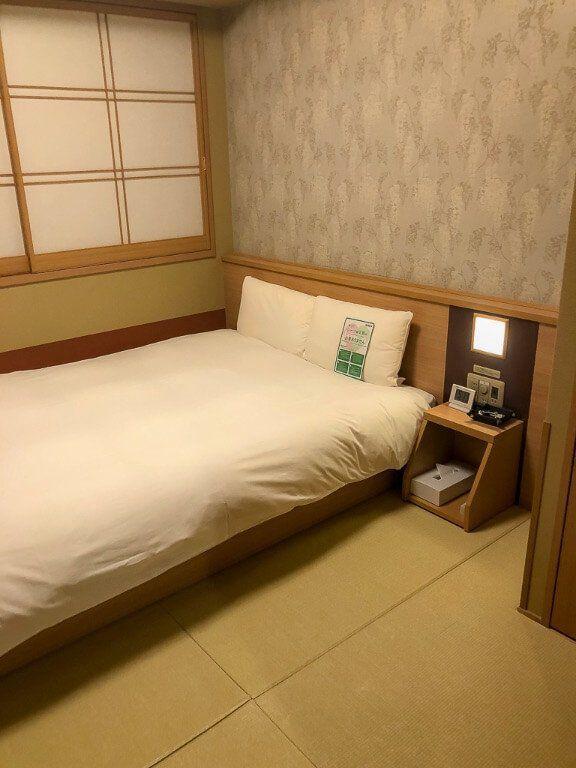 Big comfy bed and room view in Onyado Nono Nara Onsen Ryokan