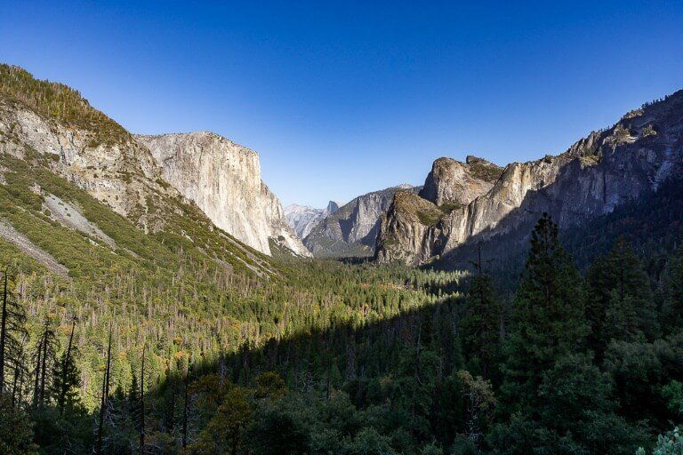 Tunnel view in afternoon huge shadow cast over Yosemite Valley itinerary