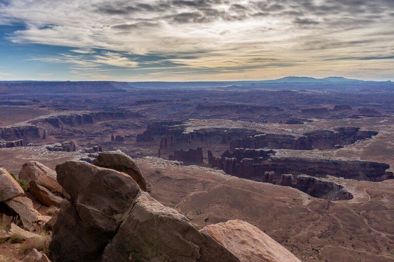 Grand View Point hiking trail 2 miles roundtrip for amazing canyon views one day in arches and canyonlands national park itinerary Utah