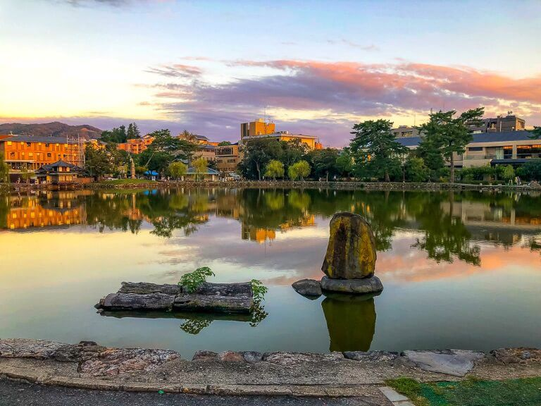 Beautiful lake with colorful clouds reflecting in Nara, Japan