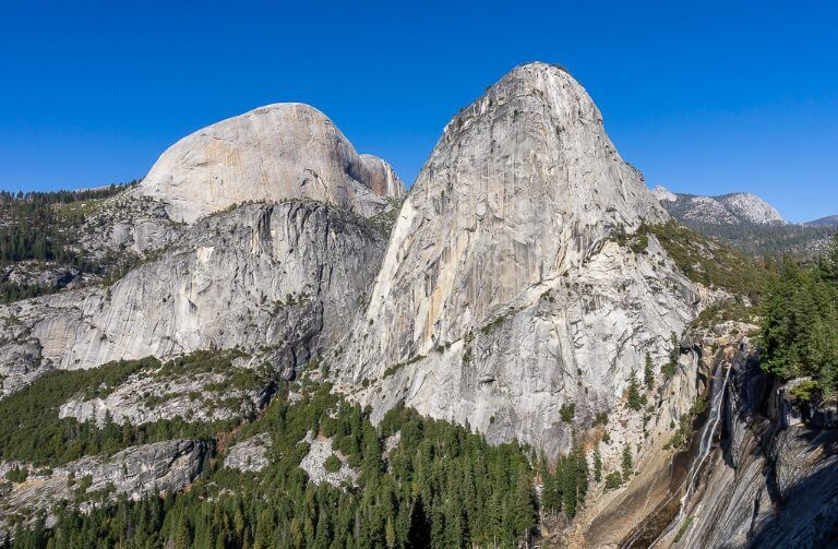 back of half dome liberty cap and Nevada Falls from John Muir trail