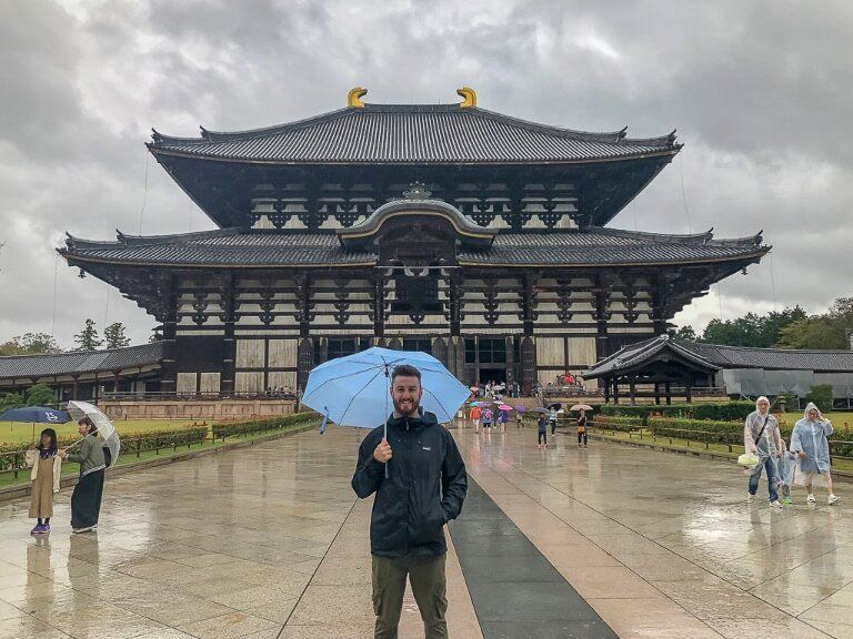 Mark outside Todaiji temple on a day trip to Nara from Kyoto in Japan