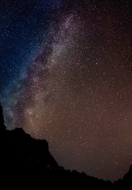 Astrophotography at Zion national park photographing the stars and Milky Way near canyon overlook Zion Utah